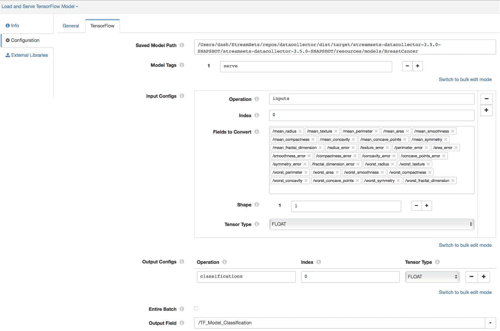 TensorFlow Evaluator Configuration