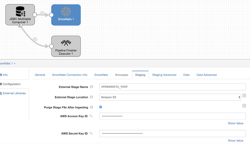 Snowflake Staging Config